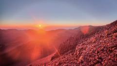 Rising Sun, Haleakala National Park mountain range summit Stock Footage