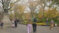 Old couple walking in Central Park New York City Stock Footage