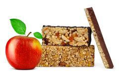 Chocolate Muesli Bars with apple - stock photo