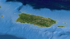 Puerto Rico, glide over the map, outlined Stock Footage