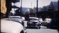1779 - generic small town USA street scene - vintage film home movie Stock Footage