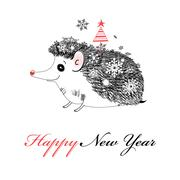 Merry Christmas hedgehog - stock illustration