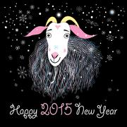 Stock Illustration of greeting card with a goat