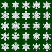25 snowflakes on green background - stock illustration