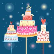 Celebration cakes Stock Illustration
