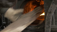 Carbon coal in  heat stoke hot fire of steam engine Stock Footage