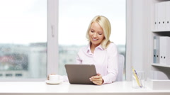 Smiling woman secretary with tablet pc and coffee Stock Footage