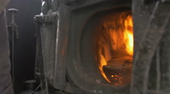 Carbon coal in  heat stoke hot fire of steam engine - stock footage