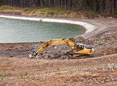 Construction of an artificial lake in Bukovel Stock Photos