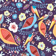 natural pattern with birds - stock illustration