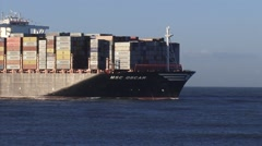 MSC Oscar, the largest container ship in the world - high seas Stock Footage