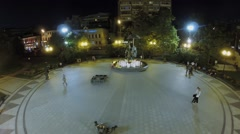 Stock Video Footage of People walk by Tsvetnoy boulevard near fountain-monument Clowns