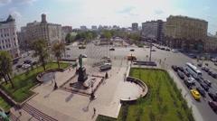 Panorama of Pushkinskaya square with monument of A.S. Pushkin Stock Footage