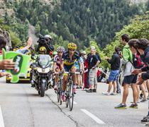 Alberto Contador Climbing Alpe D'Huez - stock photo