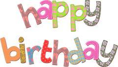 Happy Birthday Text Clip Art - stock illustration