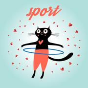 Funny cat sports Stock Illustration