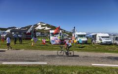 Amateur Cyclist on the Road of Le Tour de France Stock Photos