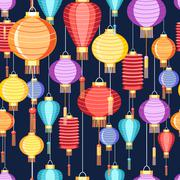 pattern Chinese lanterns - stock illustration