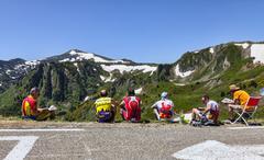 Amateur Cyclists on Col de Pailheres Stock Photos