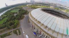 Cityscape with construction site of stadium Luzhniki Stock Footage