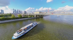 Tourists get fun during river excursion at summer Stock Footage