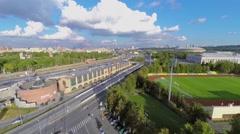 Cityscape with traffic near sports complex Luzhniki Stock Footage