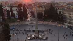 Piazza del Popolo. Egyptian obelisk. Time Lapse. Rome, Italy. 1280x720 - stock footage