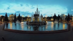 Friendship of Nations fountain on square with pavilion Stock Footage