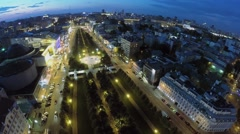 Cityscape with traffic on Tsvetnoy boulevard at summer evening Stock Footage