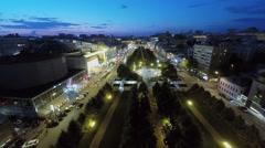 City traffic near circus on Tsvetnoy boulevard at summer Stock Footage