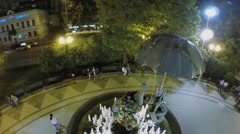 Stock Video Footage of Fountain-monument Clowns on Tsvetnoy boulevard with people