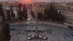 Piazza del Popolo. Egyptian obelisk. Time Lapse. Rome, Italy - stock footage