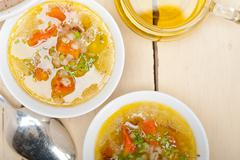 Syrian barley broth soup Aleppo style - stock photo