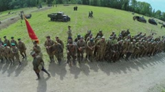 Formation of soldiers in uniform of soviet and german armies Stock Footage