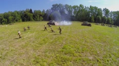 Attack of Red army with tanks during reconstruction Battlefield Stock Footage