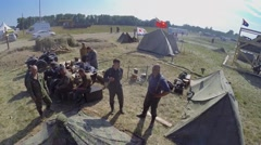 Soldiers get rest in camp during reconstruction Battlefield Stock Footage