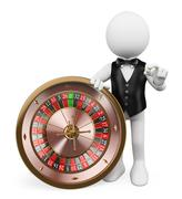 3D white people. Croupier with roulette in a casino Stock Illustration