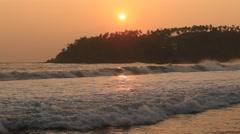 Beach and sea wave at Mirissa during sunset, Sri Lanka Stock Footage