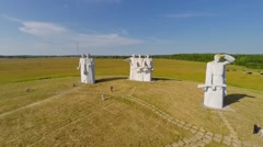 People stand near monument of 28 Heroes Panfilovtsev Stock Footage