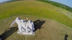 Monument to soldiers of World War II on field at summer Stock Footage