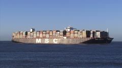 NORTH SEA Dutch coast - MSC Oscar, the worlds largest container ship - long shot Stock Footage