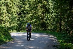 mountain biker on a way in the forest and mountains - stock photo