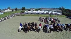 Horsemen formation during opening ceremony of Championship Stock Footage