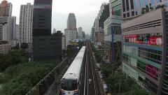 Bangkok BTS + Skyline Aerial footage [Drone] Stock Footage