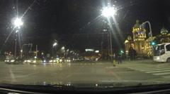 Night CAR Driving Through the City of Belgrade,Serbia POV footage Stock Footage
