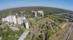City outskirts with forest on Elk Island at summer Stock Footage
