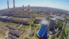 City panorama with electricity station at summer Stock Footage