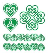 Irish, Scottish Celtic green heart vector pattern Stock Illustration