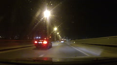 Night CAR Driving on Highway POV fuootage Stock Footage