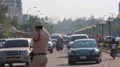 Traffic controler,Vientiane,Laos Stock Footage